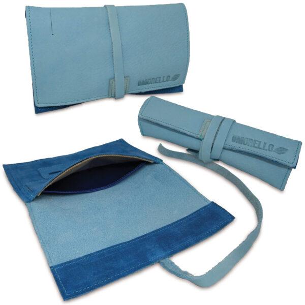 Portatabacco grande in pelle e camoscio color azzurro