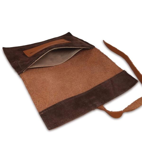 Portatabacco grande in pelle e camoscio color marrone chiaro e scuro