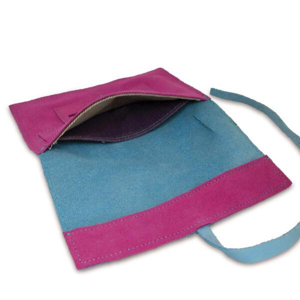 Portatabacco grande in pelle e camoscio color azzurro e fucsia
