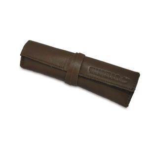 Portatabacco grande in pelle e camoscio color fango e nero