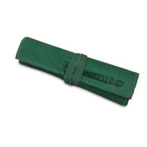 Portatabacco grande in pelle e camoscio color verde e quercia