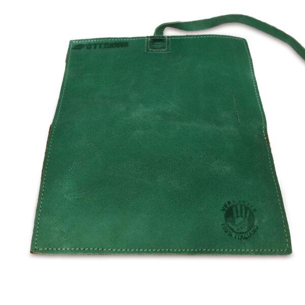 Portatabacco grande in pelle e camoscio color verde e marrone chiaro