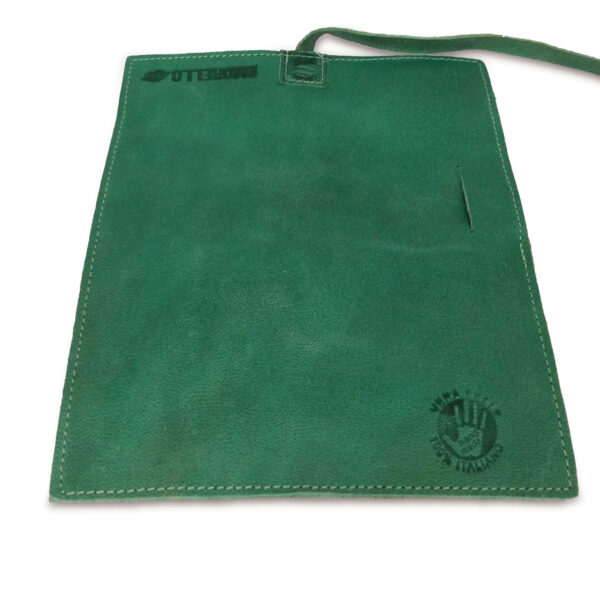 Portatabacco grande in pelle e camoscio color verde consumato