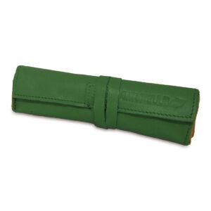 Portatabacco grande in pelle e camoscio color verde e senape