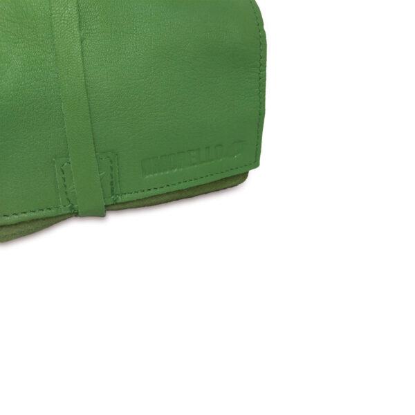 Portatabacco grande in pelle e camoscio verde
