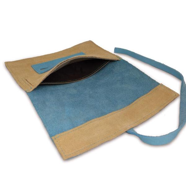 Portatabacco grande in pelle e camoscio azzurro e beige