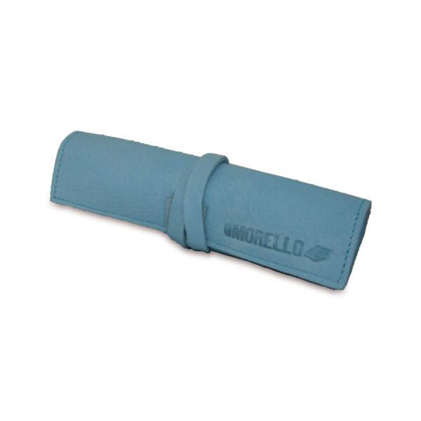 Portatabacco grande in pelle e camoscio azzurro cielo