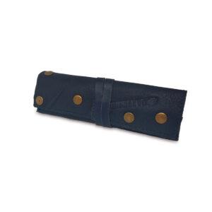 Portatabacco grande in pelle e camoscio blu con borchie oro