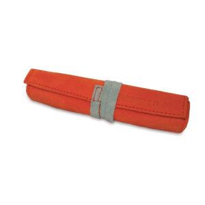 Portatabacco grande in pelle e camoscio arancio e grigio