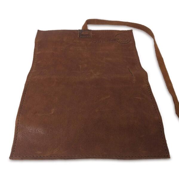 Portatabacco grande in pelle e camoscio marrone chiaro