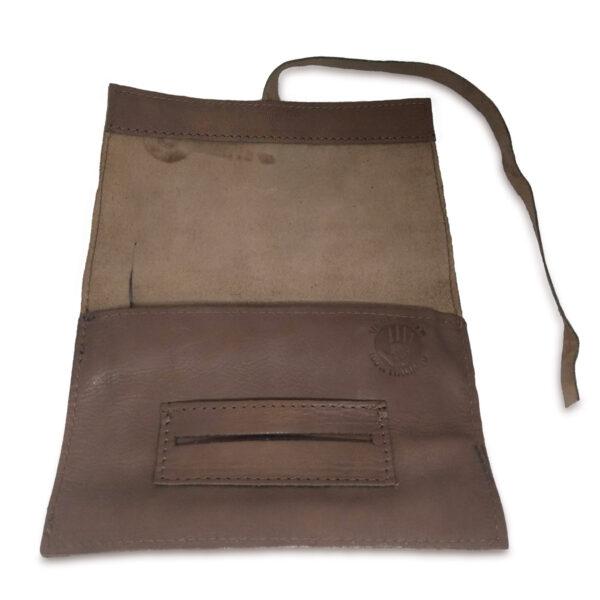 Portatabacco grande in pelle e camoscio color kaki