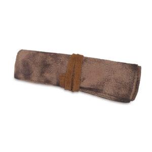 Portatabacco grande in pelle nabuk e camoscio marrone seppia