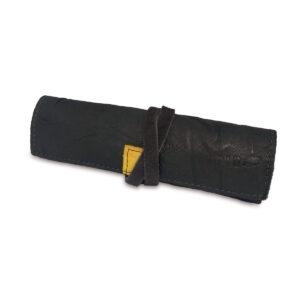 Portatabacco grande in pelle e camoscio consumato grigio antracite con inserti in giallo