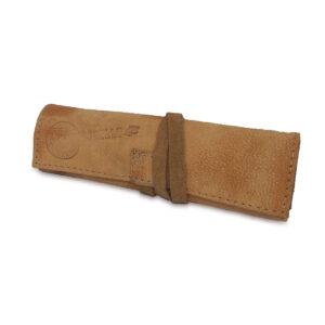 Portatabacco grande in pelle e camoscio consumato cammello