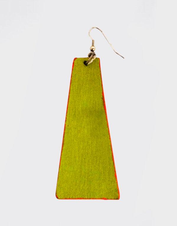 Mono Orecchino piramide lungo verde