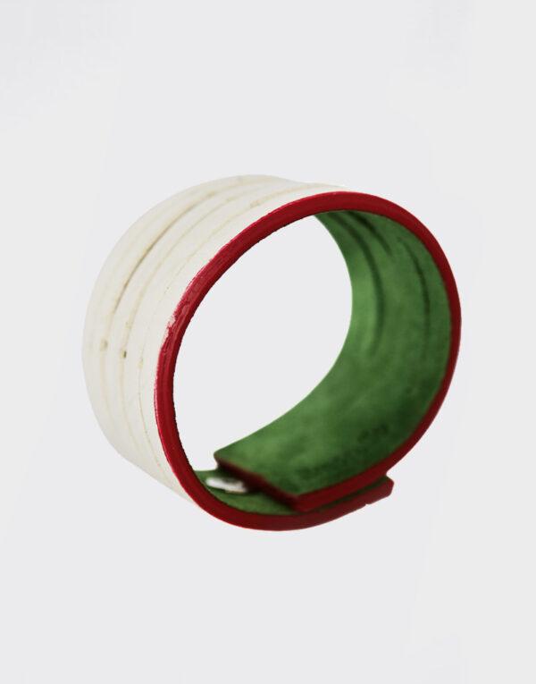 Bracciale striato verde mela e beige con bordi fucsia