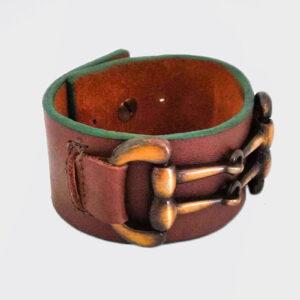 Bracciale marrone russet e quercia con piastra in ottone