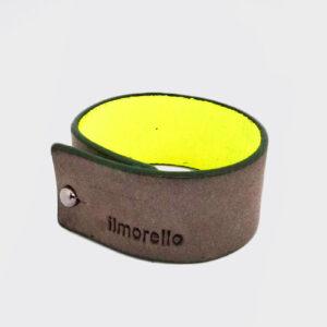 Bracciale piccolo grigio e giallo fluo con bordo verde scuro