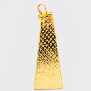 Mono Orecchino piramide grande color oro con bordo verde