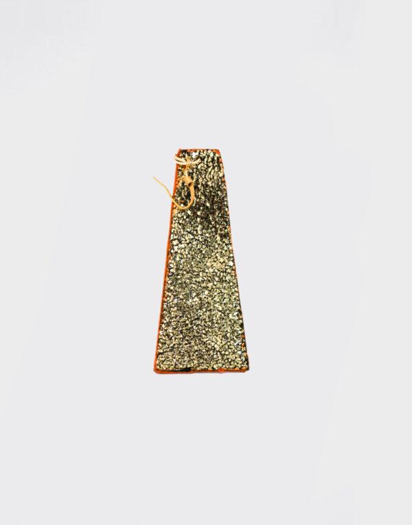 Mono Orecchino piramide lungo oro glitter