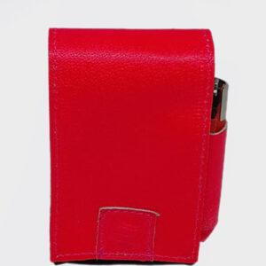 Portasigarette rosa fosforescente e nero interno apertura a bottone