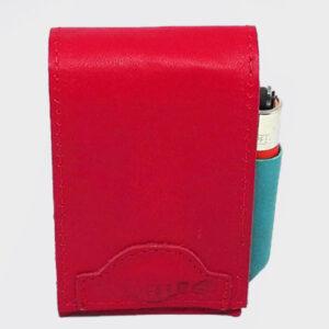 Portasigarette rosso e blu interno con apertura a calamita